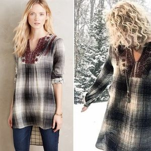Anthropologie Floreat plaid embroidered tunic Top